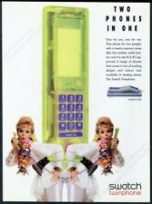 1991 Swatch watch Twinphone phone color photo vintage print ad