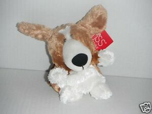 RUSS BERRIE Puppy (White Body, Brown Ears) Soft Plush Toys 12cm Tall