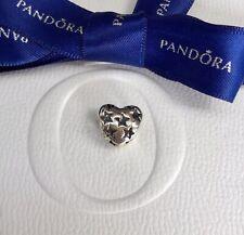Authentic Genuine Pandora Silver Heart Star Starry Night Openwork Charm #791393