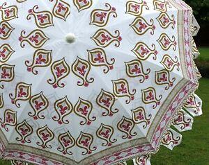 Indian Hand Block Umbrella Garden Decorative Baby Pink Floral Cotton Umbrella US