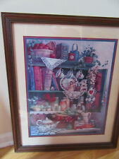 Home Interior by Barbara Mock large picture of cupboard w teacups flowers & book