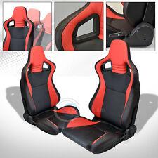 2X UNIVERSAL MU BLACK/RED PVC LEATHER w/STITCHES RACING BUCKET SEATS+SLIDERS C08