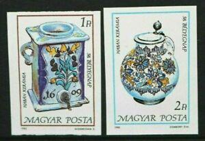 HUNGARY 1985 Stamp Day: Haban Ceramics. IMPERF. Set of 2. MNH. SG3658/3659.