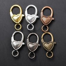Gold Silver Plated Bronze Copper & Twill & Charms Heart Lobster Clasps 22X14MM