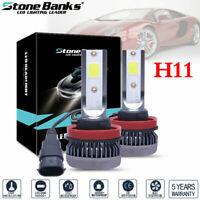 2x H11 Mini Ultra-light COB LED Headlight Hi-Low Beam Fog Bulbs 120W 26000LM US
