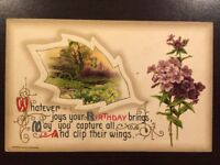 Vintage 1911 Birthday Postcard Made in Germany by John Winsch Embossed