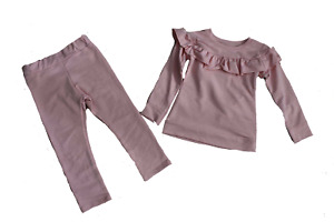 Girl's Frill Pink Tracksuit Suit Lounge Suit 2 Piece set 2 to 14 years NEW