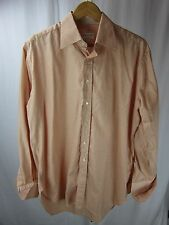 Alfred Dunhill Orange Stripe French Cuff Dress Shirt Sz 16.5 R, 42 Made in Italy