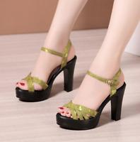 Women Peep Toe Sandals Casual Shoes Ankle Strap Platform Chunky Block High Heel
