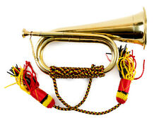 HAND MADE MILITARY BUGLE British Royal Army band solid antique brass and tassles