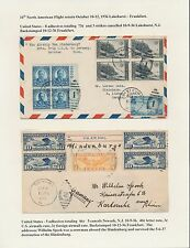 2 DIFFERENT HINDENBURG 10TH NORTH AMERICAN FLIGHT COVERS OCT 10-12,1936 BT8563
