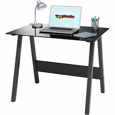 Compact Black Glass Computer Desk Home Office Furniture - Piranha Barbel PC 7bg