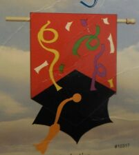 Shaped Graduation Mortar Board & Tassel on Red w/ Streamers applique HOUSE flag