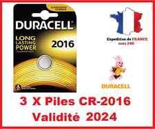 3 Piles CR-2016 DURACELL bouton Lithium 3V DLC 2026