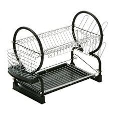 Premier Housewares 2-Tier Dish Drainer, 56 cm-Nero