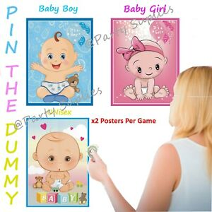 Pin the Dummy on the Baby Game  Baby Shower Party Games Boy Girl Unisex x2Poster