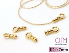10 pcs Crimp End Cap, ID 0.7mm, 24K Plated End Cap, Gold Plated Cord Ends