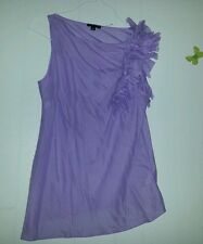 SISLEY romantic sexy lilac color blouse top sleeveless sz M GC asymmetrical