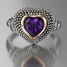 Torello Amethyst Heart Ring, 1.22 CTW in 14k Gold & Sterling Silver, Size 7