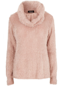 YOURS Cowl Neck Fluffy Eyelash Jumper in Grey or Pink - Plus Size 16 to 30/32