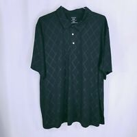 George Mens Short Sleeve Collared Button Down Golf Polo Shirt Black Size XXL