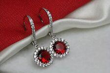 Sterling 925 Silver Nickel Free Garnet Leverback Halo Flower Dangle Earrings