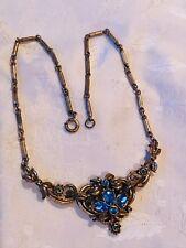 Antique Three Piece Blue Rhinestone Floral Bar Chain Necklace w Blue Rhinestones