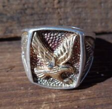 Vintage 10k Sterling Silver Diamond American Bald Eagle Mens Ring size 9.75