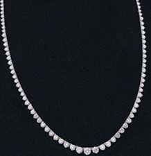 5.85 carat Round Diamond Tennis Necklace Graduated 14k White Gold 153 diamonds