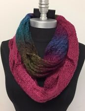 Women Winter Infinity Long 2-Circle Cable Knit Cowl Neck Scarf Soft Rose/peacock