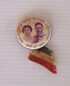 VINTAGE 1937 KING GEORGE VI QUEEN ELIZABETH CORONATION SOUVENIR PIN BUTTON BADGE