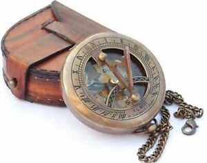 """Brass 3"""" Sundial Compass with Leather Case and Chain -Push Open Compass"""