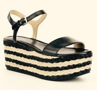 Women MK  Michael Kors Nantucked Mid platform Sandals Leather Black