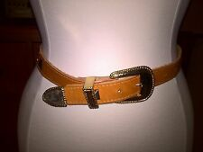 Accessories by Pearl 1985 Vintage Tan Western Leather Belt Gold Buckle Med *WOW*