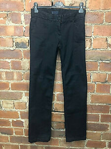 FCUK Black Stretch Straight Leg Jeans Eyelet Embroidery - Size 10 Smart Casual
