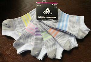Adidas  Women's Superlite No Show Socks 6-Pair Gray w/stripes Med Size 5-10 (B8)