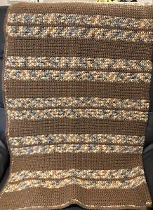 Vtg Handmade Crochet Afghan Granny Sofa Throw Blanket Brown, Beige, Grays Stripe