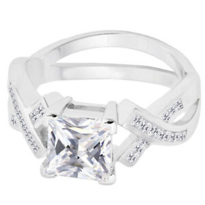 White Gold Princess Cut Promise Engagement Wedding Clear Infinity Overlap Ring