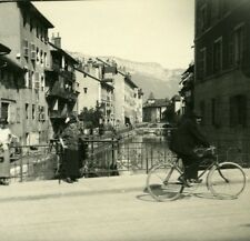 France Haute Savoie Lake Annecy Thiou Canal old Possemiers Stereo Photo 1920