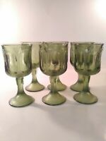 Set of 6 Fostoria Green Glass 10 ounce Water Goblets - Woodland Pattern Textured