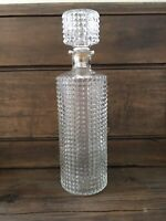 Vintage Clear Glass Round Whiskey Liquor Decanter Bar Bottle w/ Cork Stopper