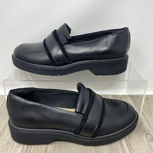 Clarks, Black Leather Platform Slip on Loafer Style Shoes. UK Size 5D. EXC CON.