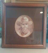 Vel Miller little boy cowboy print professionally framed burlap/distressed wood