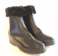 Mid Century Kids 5 Black Rubber Boots Faux Fur Galoshes USA Zip Vintage