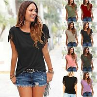 Ladies Womens Short Sleeve Fringe Loose Summer Top Casual Blouse T Shirt Tops UK