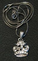 Lovely costume jewellery necklace in silver tone metal with white stone crown