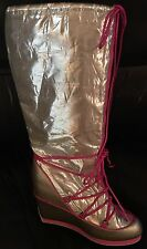 COLIN STUART Silver Metallic Shiny Wedge Pink Lace-Up Winter Snow Rain Boots 8