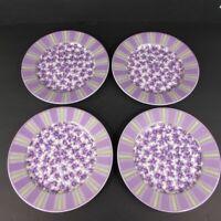 "Set Of 4 Waverly Garden Room Field Of Flowers Purple 8.25"" Salad Plates Vintage"
