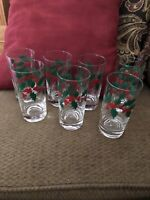"A set of ""7""Christmas Holly & Berry Water Vintage Drinking glasses"