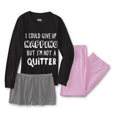 Womens Pajamas Plus Size 1X Pink/Black Shirt/Top Shorts,Pants Set Cotton XL NEW